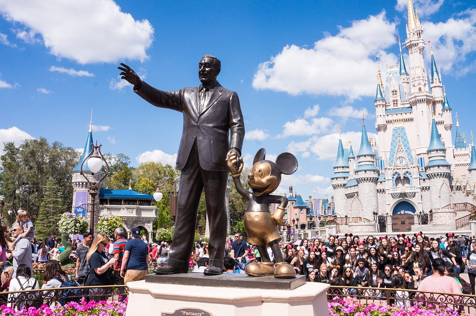 Walt Disney and Mickey Statue at Disney's Magic Kingdom, Orlando, Florida.