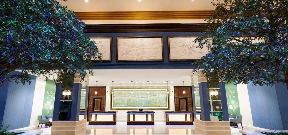 Photo of the lobby of the Fairmont Austin as you enter the hotel.